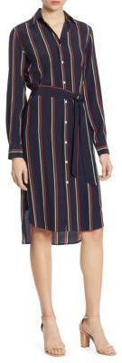 Polo Ralph Lauren Striped Silk Shirtdress $298 thestylecure.com