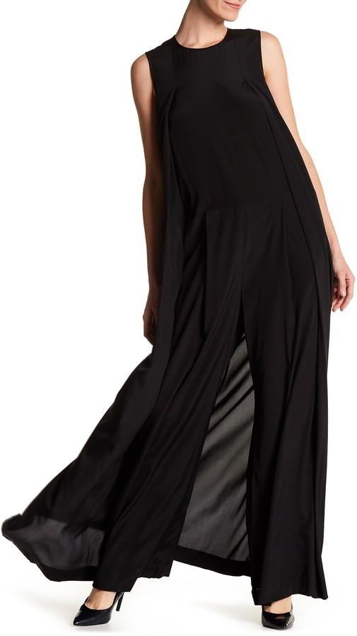 DKNYDKNY Sleeveless Wide Leg Side Cape Silk Blend Jumpsuit