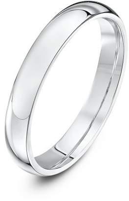 Theia Palladium 950 Super Heavy - Court shape 3mm Wedding Ring - Size P
