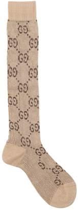 Gucci Gg Supreme Knee High Cotton Blend Socks