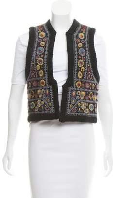 Antik Batik Embroidered Open-Front Vest