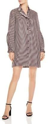 Sandro Music Ruffled Geo-Print Shirt Dress