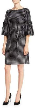 Michael Kors Boat-Neck Bell-Sleeve Polka-Dot Silk Georgette Shift Dress