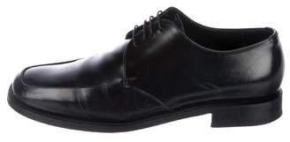 Prada Square-Toe Lace-Tie Oxfords