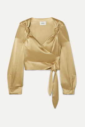 Nanushka Selena Satin Wrap Top - Gold