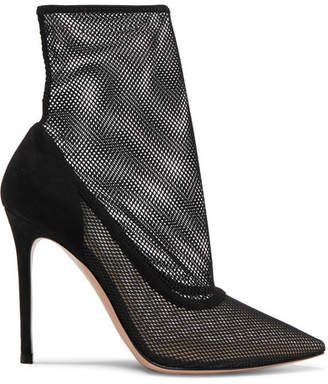 Gianvito Rossi 105 Mesh And Suede Sock Boots - Black