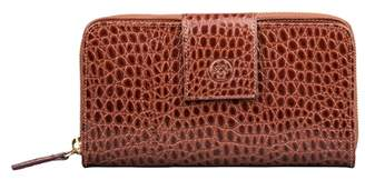 Maxwell Scott Bags Handcrafted Tan Faux Crocodile Leather Large Purse