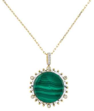 Frederic Sage 18K Malachite, Quartz & Diamond Pendant Necklace