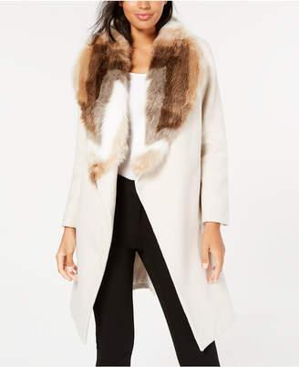 Alfani Petite Faux-Fur Collar Belted Coat