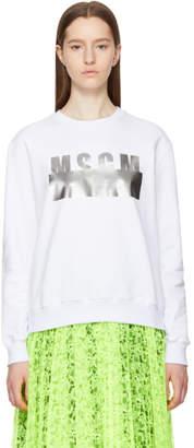 MSGM White Stamped Logo Sweatshirt