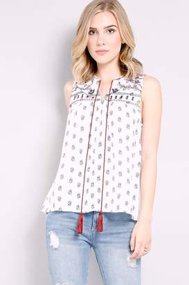 Mine White Embroidered-Detail Top