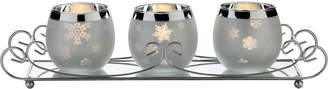 Mikasa Celebrations By Set Of 3 Silver Snowflake Votives On Mirrored Tray