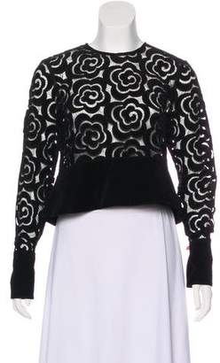 Alice McCall Velvet-Accented Lace Top