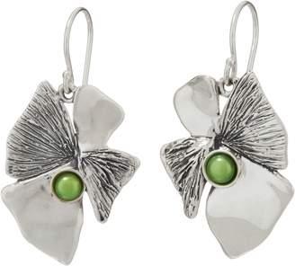 Hagit Sterling Silver Lotus Flower w/ Pearl Earrings
