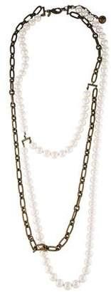 Lanvin Faux Pearl & Chain Necklace