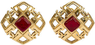 Chanel Red Gripoix Square Logo Earrings
