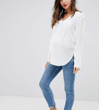 Asos DESIGN Maternity Ridley high waist skinny jeans in pretty mid stonewash blue