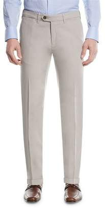 Canali Stretch-Cotton Flat-Front Dress Pants, Stone