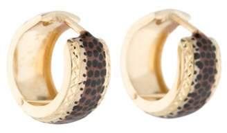 14K Animal Print Enamel Hoop Earrings