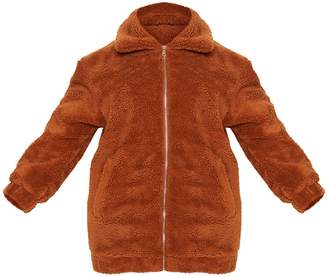 Next Womens PrettyLittleThing Curve Teddy Bomber Coat