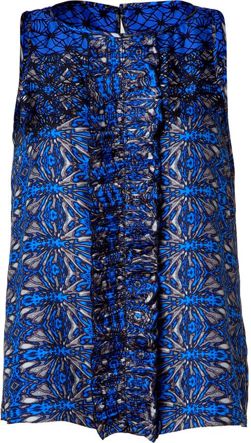 Tibi Electric blue silk top