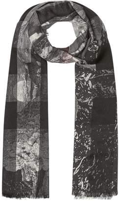 Burberry Dreamscape Print Check Lightweight Cashmere Scarf