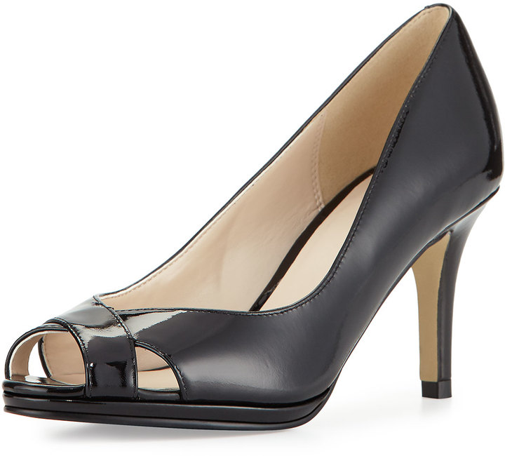Cole Haan  Cole Haan Lena Patent Open-Toe Pump, Black