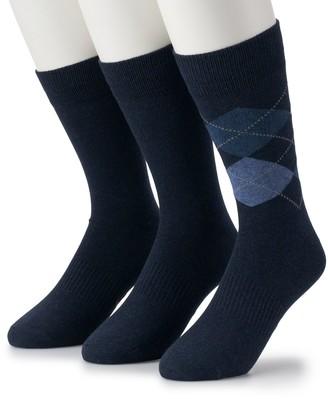 Dockers Men's 3-pack Solid & Patterned Stretch Crew Socks