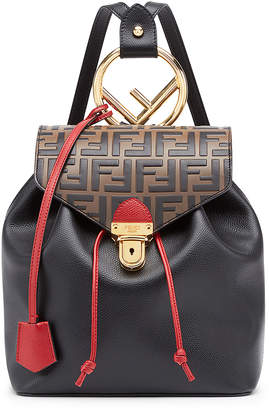 Fendi Logo Print Backpack in Black & Brown | FWRD