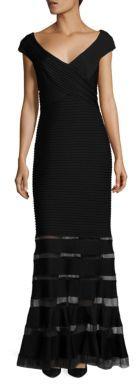 Tadashi Shoji Pintuck Sheer Paneled Gown $410 thestylecure.com