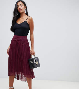 Asos DESIGN Petite dobby pleated high low midi skirt with pintuck detail