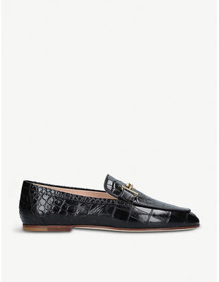 Tod's Tods Double T crocodile-embossed leather moccassins