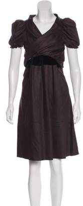 David Szeto Wool-Blend Knee Length Dress black Wool-Blend Knee Length Dress