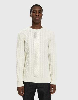 Norse Projects Arild Cable Knit Sweater in Ecru