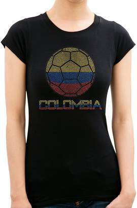 BLING BLING COUNTRY COLOMBIA FLAG BALL Rhinestone/stud Womens T-Shirts