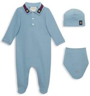 Gucci Baby Boy's Footie, Hat& Bib Gift Set