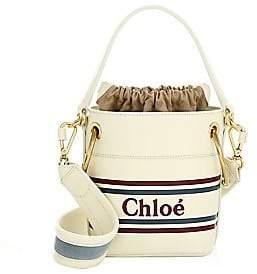 Chloé Women's Mini Roy Striped Leather Logo Bucket Bag