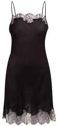 Carine Gilson Lace Trimmed Silk Satin Slip Dress - Womens - Black