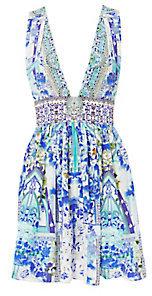 Camilla Porcelain Paradise V-Neck Mini Dress $450 thestylecure.com