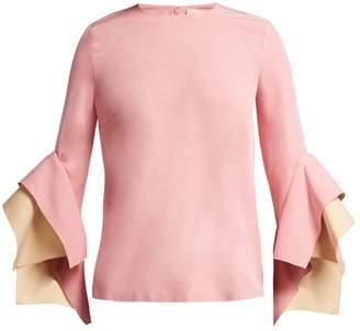 Roksanda Flared Sleeve Cady Top - Womens - Pink