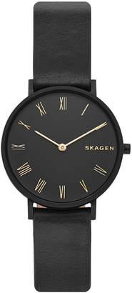 Skagen Women's Hald Slim Black Leather Strap Watch 34mm