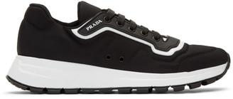 Prada Black and White Gabardine Soft Sneakers