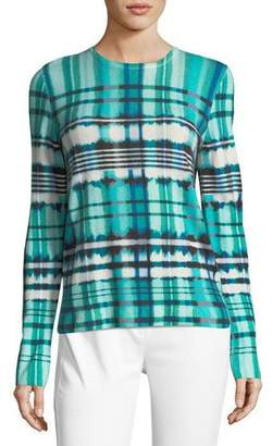 St. John Ombe Plaid Cashmere Sweater