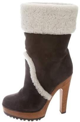 Dolce & Gabbana Platform Shearling-Trimmed Ankle Boots