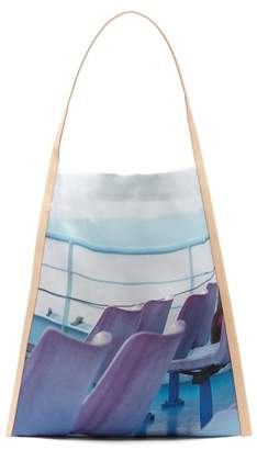 Pb 0110 Ab 58.2 Ferry Print Silk And Leather Tote Bag - Womens - Blue Multi