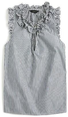 Women's J.crew Ruffle Stripe Cotton Poplin Top $78 thestylecure.com