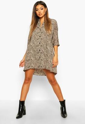 boohoo Leopard Button Through 3/4 Sleeve Smock Dress