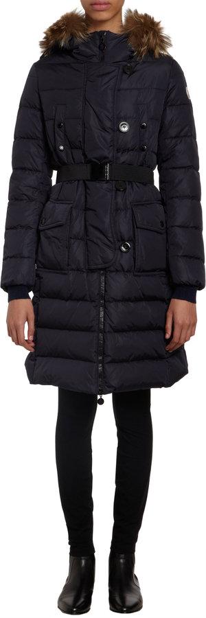 Moncler Fur Trimmed Hood Long Coat