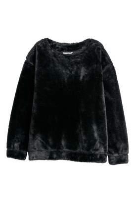 H&M Faux Fur Top - Black - Women