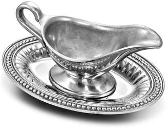 Wilton Armetale Flutes & Pearls Gravy Boat with Tray